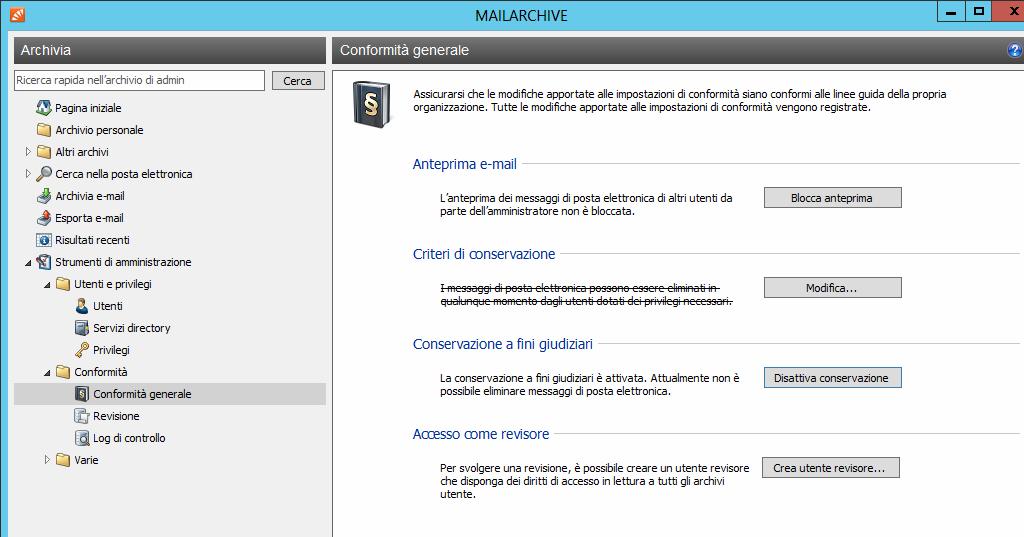 mailarchive conformita