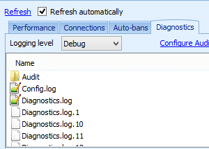 The Diagnostics tab in the Monitoring panel displays the server's log files.
