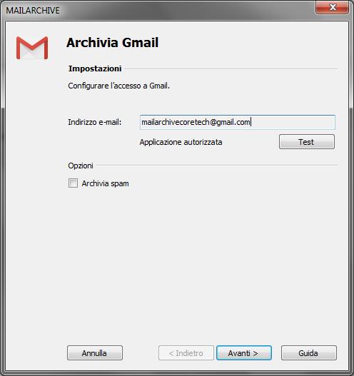config accesso gmail