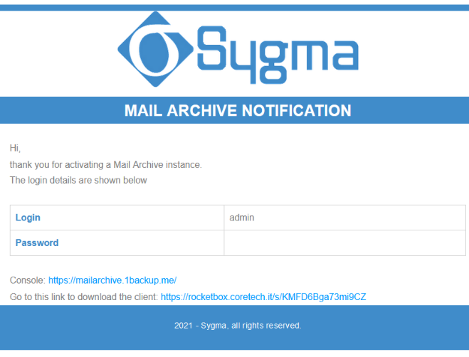 Istanza MailArchive Sygma