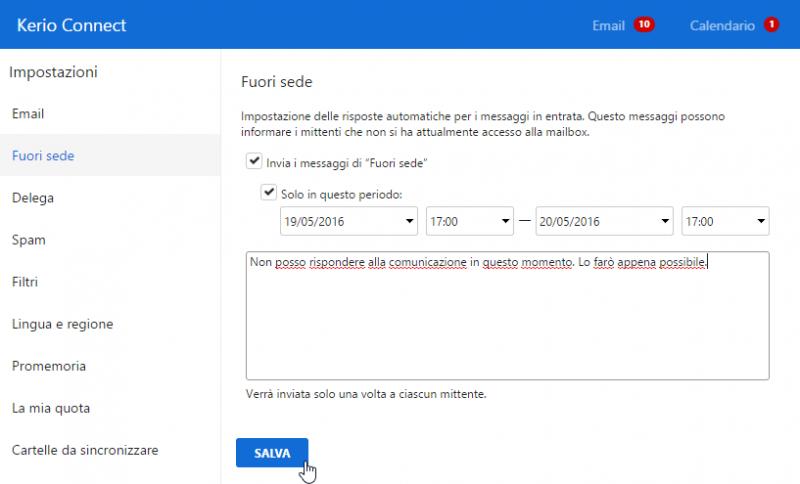 Ben noto Come configurare il messaggio fuori sede con il Client Kerio Connect IB08