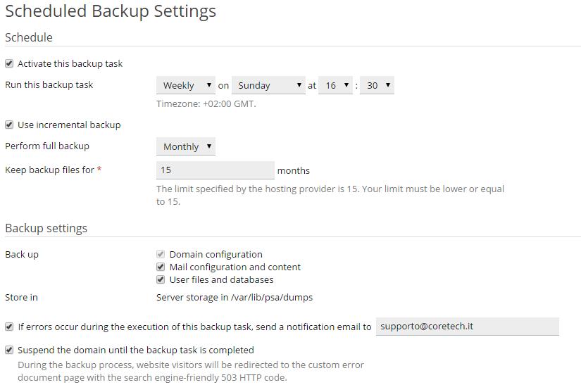 Plesk - Backup automatici 2
