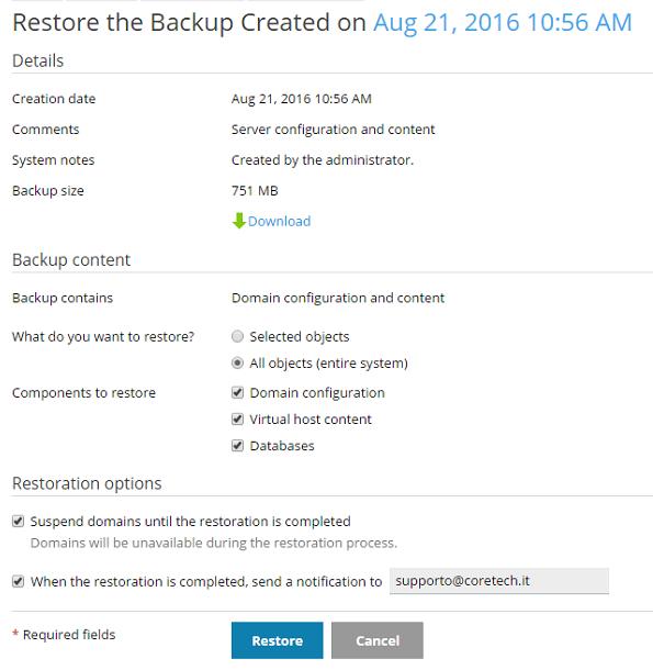 Plesk - Restore Backup 3