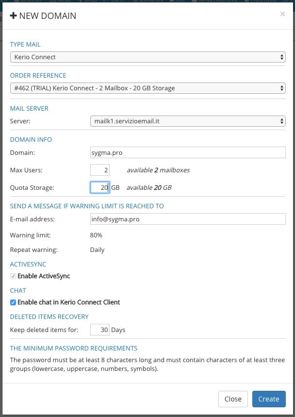 Form creazione dominio di posta Kerio Connect con Sygma