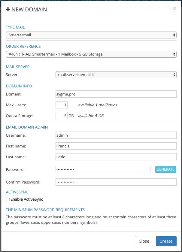 Form Creazione Dominio di Posta Smartermail con Sygma
