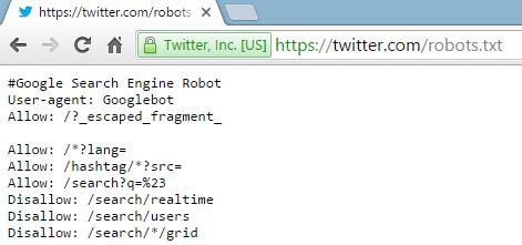 Web Hosting - Twitter Robots.txt